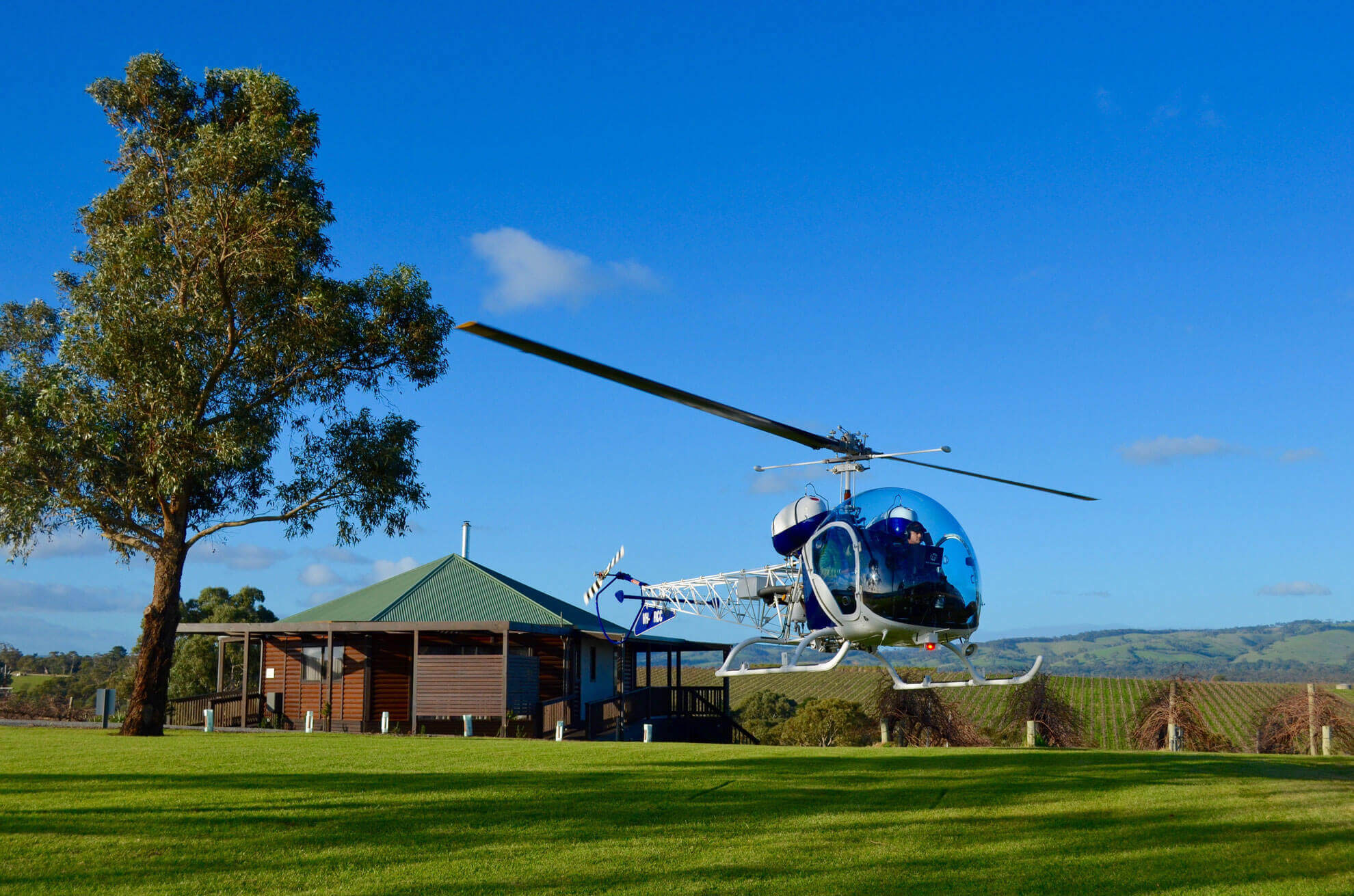 Helicopter flights to and from wineries