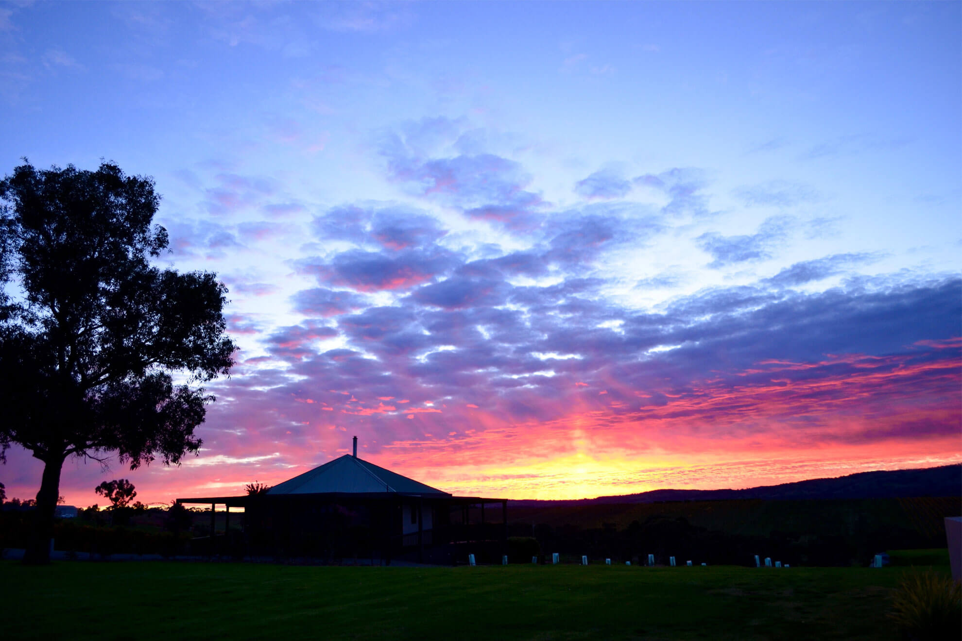 Sunset over the Vineyard Retreat
