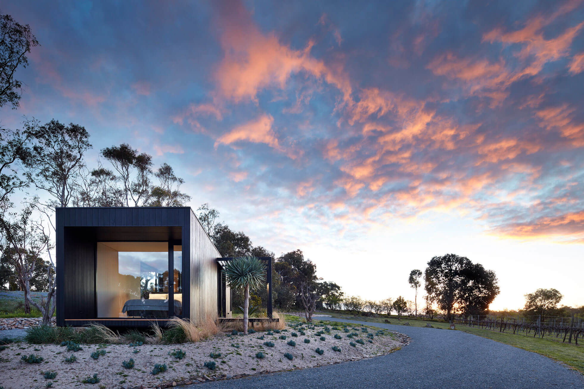 Sunset views Cadole Avalon, The Vineyard McLaren Vale